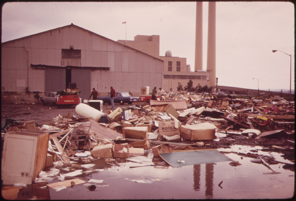 Household trash has been dumped in front of the New York City incinerator plant at Gravesend Bay.